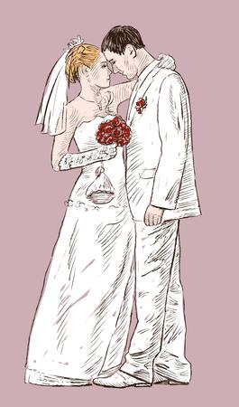 Illustrazione vettoriale della amorevole sposa e sposo