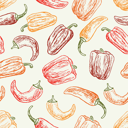 Pattern of the ripe peppers Ilustrace