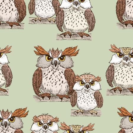 漫画フクロウのパターン。