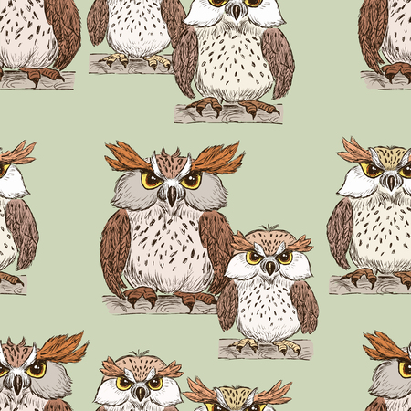 Pattern of the cartoon owls. Imagens - 83556856
