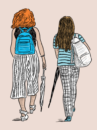 striding: The young townswomen go on a stroll