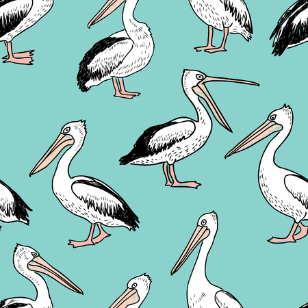 Pattern of the cartoon pelicans Zdjęcie Seryjne - 84730595
