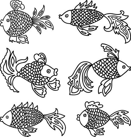 Imaginary decorative fishes Çizim