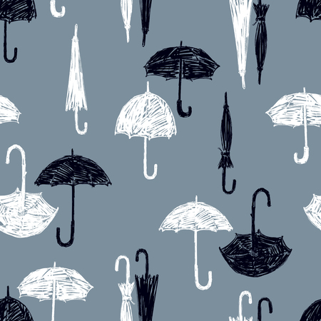 Vector pattern of the black and white umbrellas Illustration