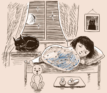 A little girl and her pet sleeping