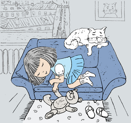 Little girl and a white cat sleeping on blue couch. Vector illustration.