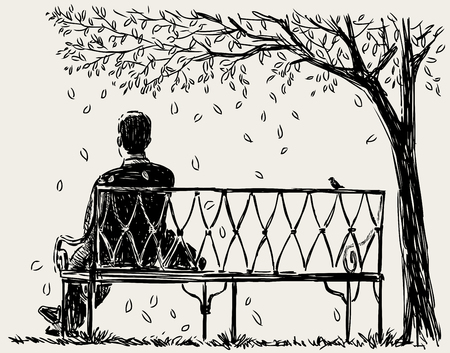 Lonely man sits on the park bench Çizim