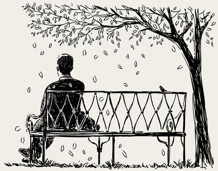 Lonely man sits on the park bench Stok Fotoğraf - 89063638