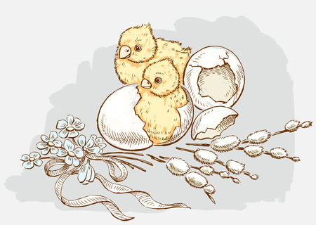 Newborn chickens in Easter