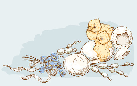 Newborn Easter chickens Illustration