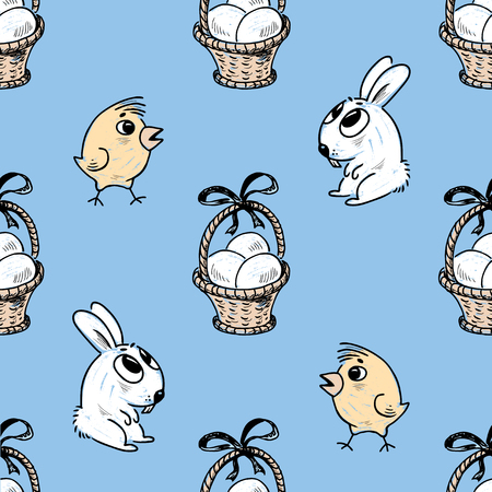 Pattern of the Easter baskets, chicks and bunnies