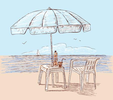 Beach umbrella on the seashore Ilustrace