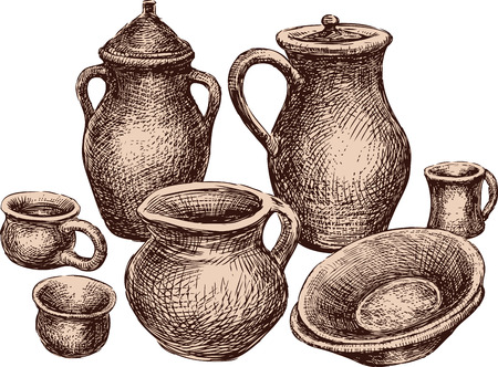 A collection of the different earthenware. All objects isolated. Vettoriali