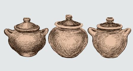 Um conjunto de três potes de barro Foto de archivo - 94368995