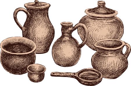 Coleção dos vários clayware. Todos os objetos isolados. Foto de archivo - 94302025