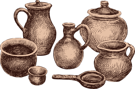 Collection of the various clayware. All objects isolated. Vettoriali