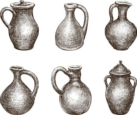 Conjunto de jarros de barro diferentes Foto de archivo - 94296942