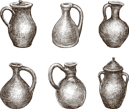 Set of different clay jugs