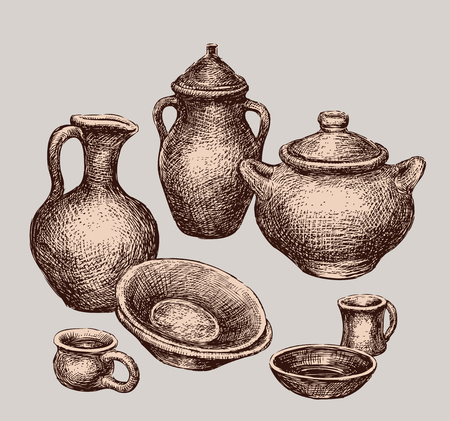 Set of different clay ware illustration on gray background.