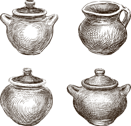 Set of the various clay pots