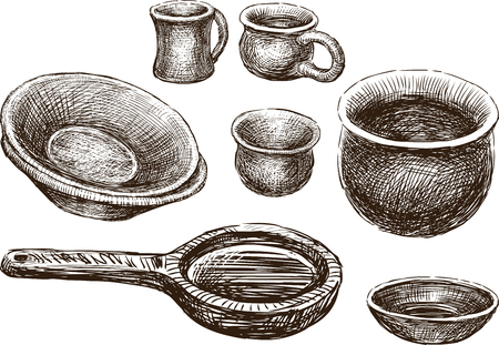 Sketches of the various clayware