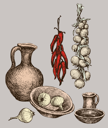 Still life of pottery and vegetables.