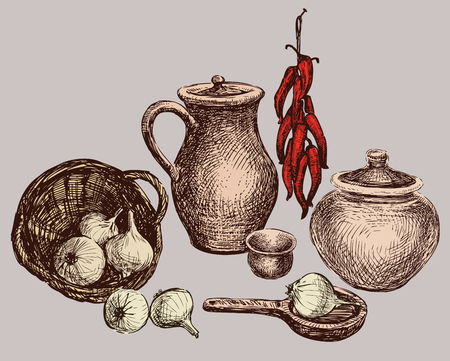 Still life of the ceramic ware and vegetables