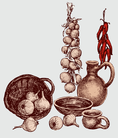 Still life of vegetables and ceramic ware. Vettoriali