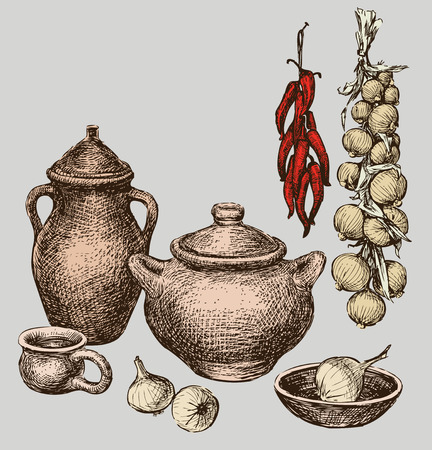 Still life with the clay ware, onion and pepper.