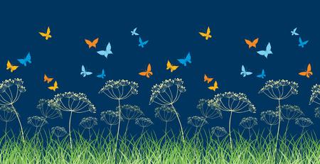Butterflies on the night meadow