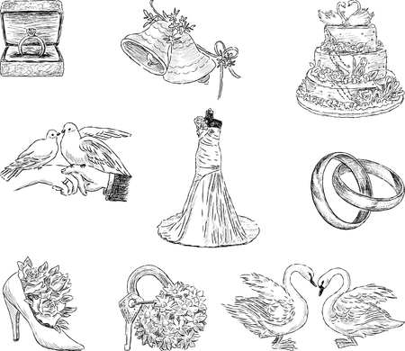 Set of the wedding symbols