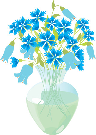 Blue flowers in a glass vase