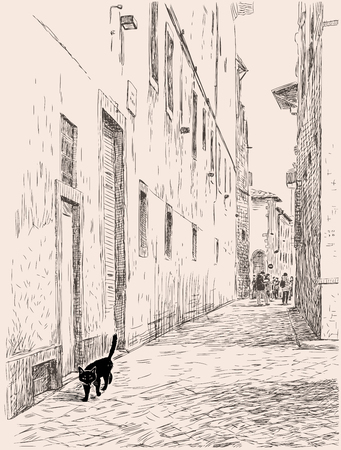 A black cat is walking in the old town, sketch illustration.