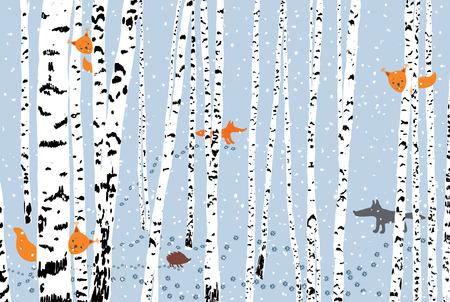 Wild animals in a winter forest Illustration
