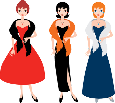 Lady in evening gowns