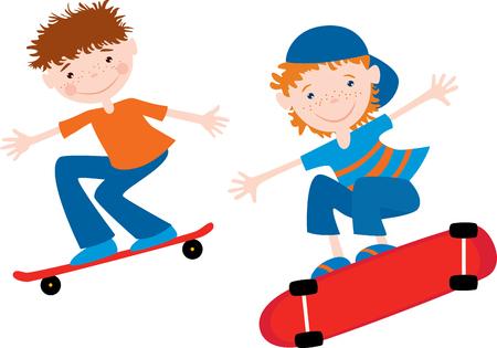 Teen boys ride on the skateboards Çizim