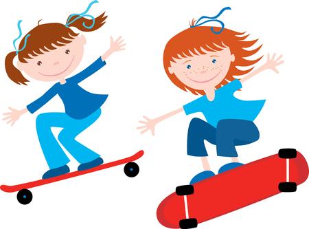 Teen girls ride on the skateboards in cartoon illustration. Çizim