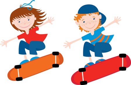 Cheerful kids ride on the skateboards Иллюстрация
