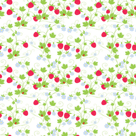 A Seamless background of twigs of ripe strawberry Vettoriali