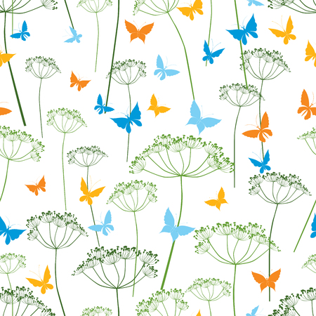 Pattern of butterflies and umbellate plants