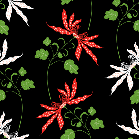 A pattern of the decorative orchids isolated on plain dark background. Ilustração