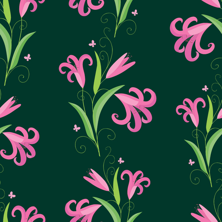A Seamless background of the decorative lilies