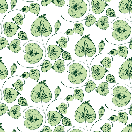 seamless background of twigs with ornamental leaves Stock Illustratie