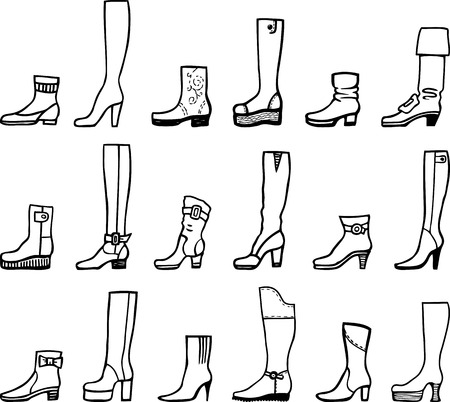 Collection of various models of female boots Иллюстрация