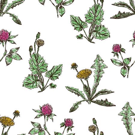 seamless background of dandelions and clower Ilustração