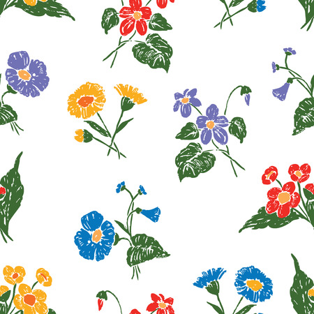seamless background of the drawn wildflowers
