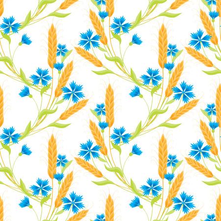 Cornflowers and ripe ears of wheat seamless pattern illustration. Vettoriali