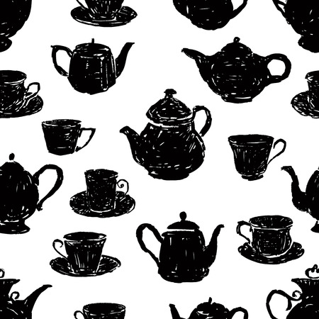 pattern of the silhouettes of teacups and teapots Vector illustration.