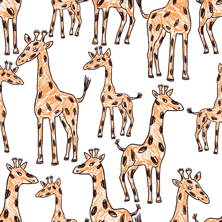 Seamless background of the drawn giraffes