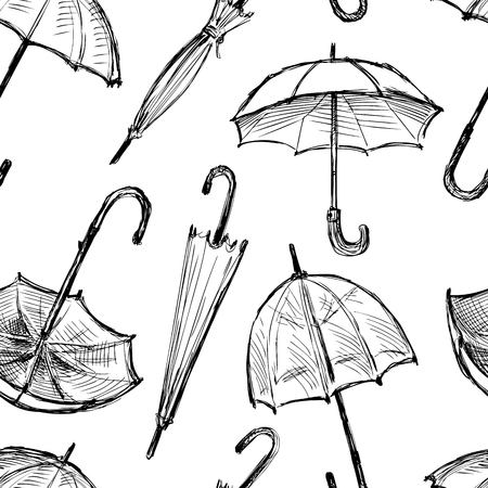 Seamless background of the umbrellas sketches Illustration